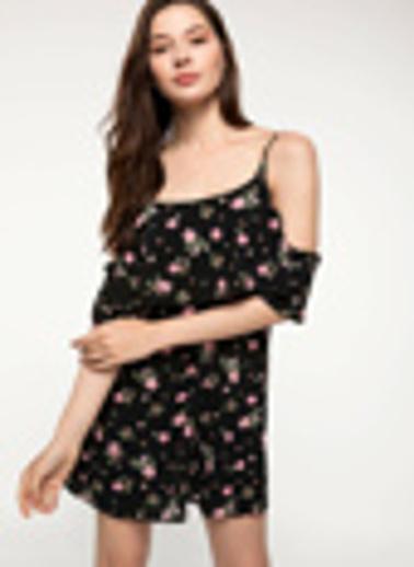 DeFacto Volan Detaylı Çiçek Desenli Askılı Elbise Siyah